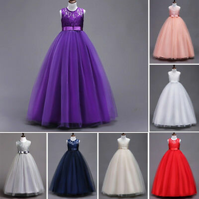 USA Long Princess Girls Dress Flower Baby Lace Tulle Party Gown Formal Dresses