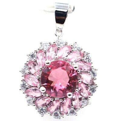 Charming Pink Morganite White CZ Ladies Present Silver Pendant Morganite White Pendant
