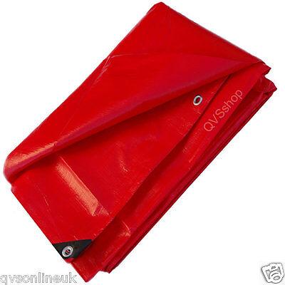 1.8M x 2.4M WATERPROOF HEAVY DUTY RED TARPAULIN COVER TARP SHEET