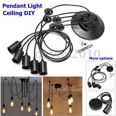 1/3/5 Heads E27 Vintage Ceiling Edison Lamp Pendant Light Ch