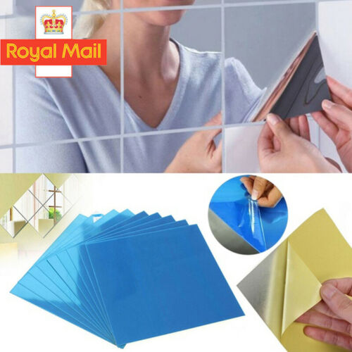Home Decoration - Glass Mirror Tiles Wall Sticker Square Self Adhesive Stick-On Art DIY Home Decor