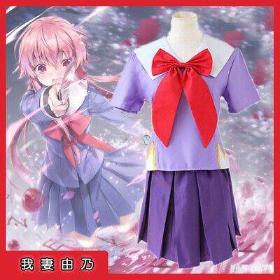 Future Diary Gasai Yuno Mirai Nikki Schuluniform Kleid Cosplay Kostüm Perücke