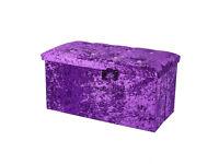 Purple Large Double Crushed Velvet Diamante Ottoman Folding Storage Box Footstool Seat