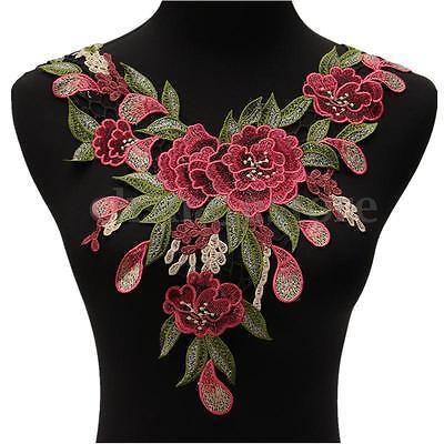 Rose Flower Motif Collar Neck Trim Sewing Applique Badge Embroidered Bust Dress