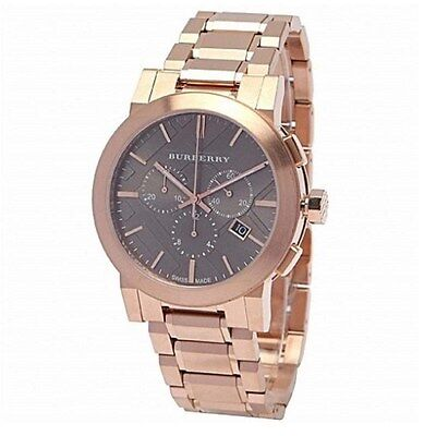 Brand New Burberry Men's Swiss Chronograph Dial Rose Gold Plated Watchman on the alert for BU9353
