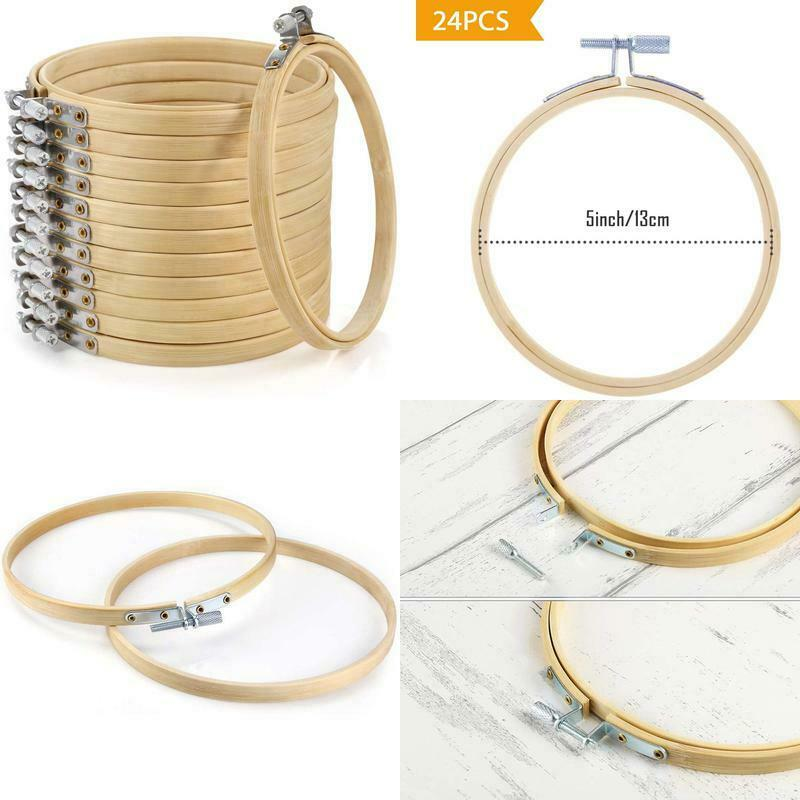 Caydo 12 Pieces 5 Inch Embroidery Hoops, Bamboo Cross Stitch