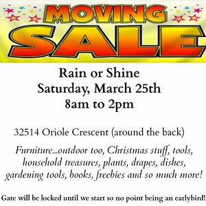 Moving Sale Rain or Shine