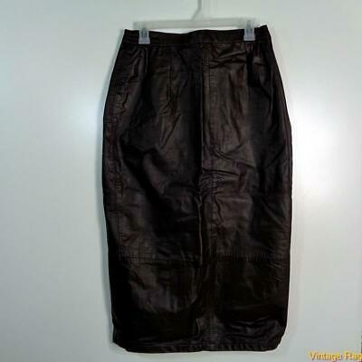 Vtg USA Long Sexy Soft Leather Skirt Size 18 Brown