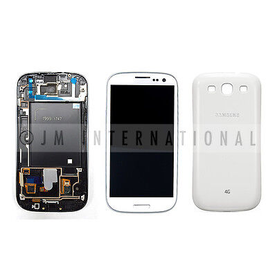 White Samsung Galaxy S3 i747 T999 LCD & Touch Screen + Frame Assembly Back Cover on Rummage