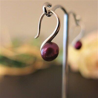 Ohrhänger mit Echten Perlen 7,5mm Fuchsia, 925 Silber TOP Geschenk