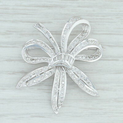 1.41 ctw Diamond Flower Brooch - 14k White Gold Statement Pin Floral ()