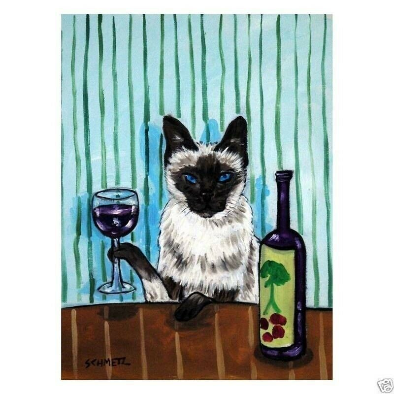 SIAMESE Cat at the WINE BAr Set of Notecards envelopes
