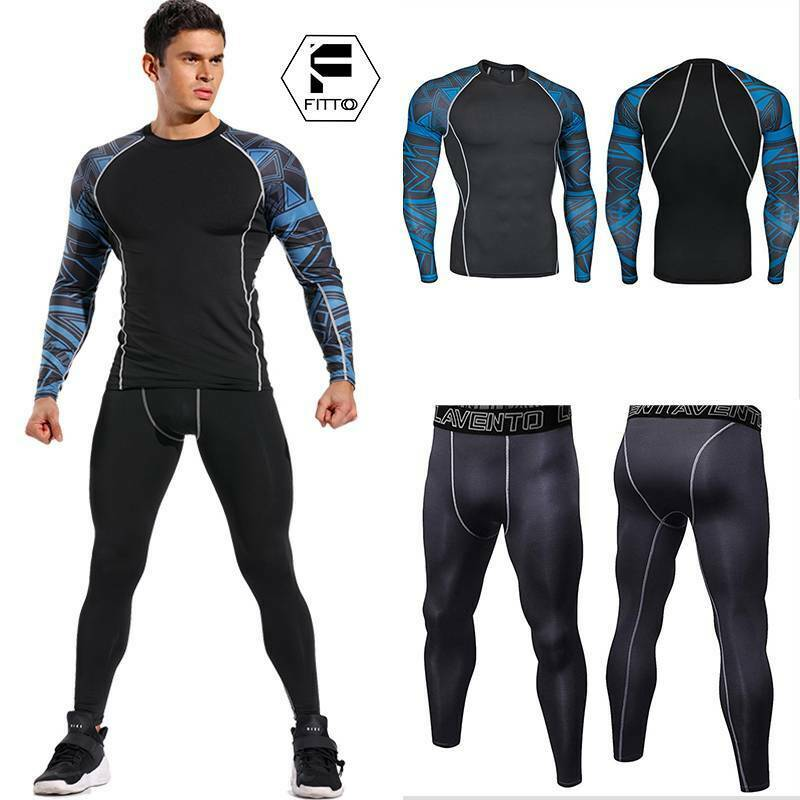 Men's Compression Cool Sweat Pants+T-Shirts Running Gym Quic