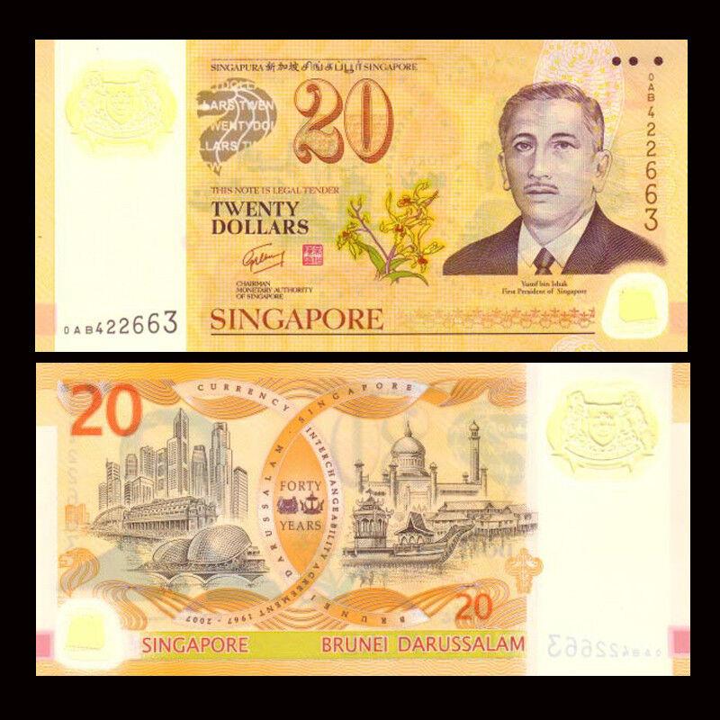 SINGAPORE/&BRUNEI SET 2 PCS UNC/>COMMEMORATIVE 2007 20 DOLLARS POLYMER P-34 53
