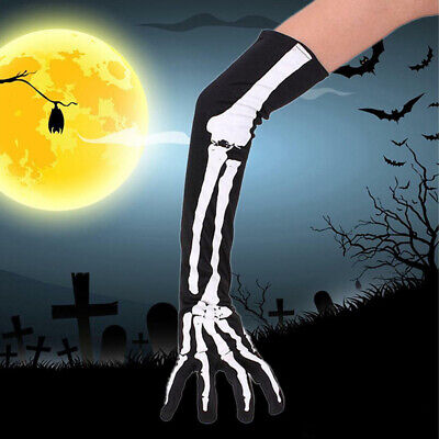 Halloween Costume Cosplay Party Skeleton Long Arm Full Finger Gloves US SELLER](Skeletons Costumes)