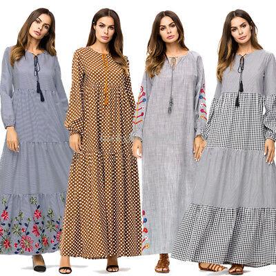 Islamic Abaya Women Muslim Dress Jilbab Cocktail Maxi Kaftan Robe Loose Gown New