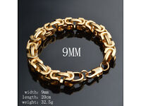 Chinese Heavy 18K Gold Plated Bracelet Men's/Ladies 9mm x 20cm Chain Fashion Jewellery Gift - NEW