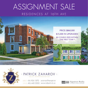 Brand New Townhome in Markham Assignment Sale $860,000