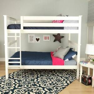 Solid Wood Twin over Double Bunk Bed (White)