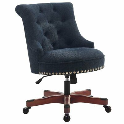 Linon Sinclair Wood Upholstered Office Chair In Dark Blue