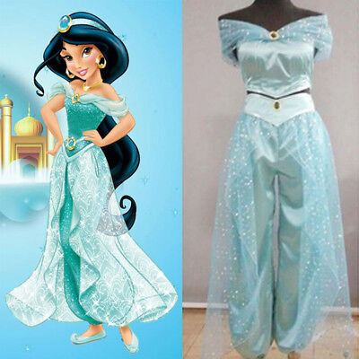 Aladdin Jasmine Princess Cosplay Women Girl Garment Fancy Dress Party Costume CA