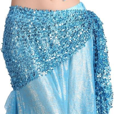 Belly Dance Hip Scarf Belt Hand Crochet Belt Skirt Sequin Dancing Costume -