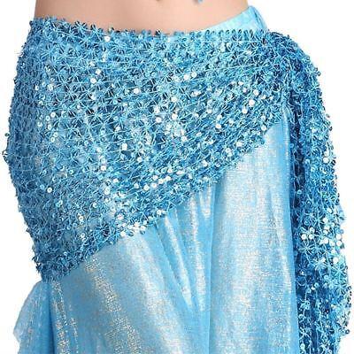 Belly Dance Hip Scarf Belt Hand Crochet Belt Skirt Sequin Dancing Costume -