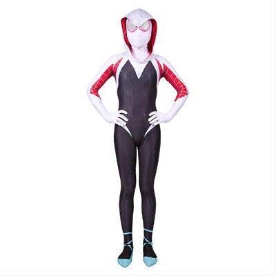 Gwen Stacy Spider-Man Costume Into the Spider-Verse Kid  Cosplay Hooded - Spider Kid Costume