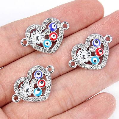 10Pcs Silver Crystal Heart Shape&Flower Connector Charm Bead DIY Ornament Making