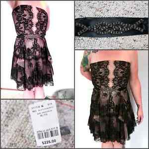 Size 14 nude and black lace dress