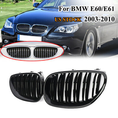 Front Kidney Twin Fins Gloss Grille Double Rib Grill For BMW E60 E61 M5 2003-09