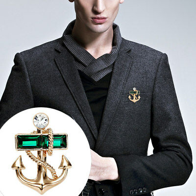 Mens Fashion Pirate Crystal Anchor Brooch Lapel Pin Badge Shirt Suit Jewellery](Pirate Suit)