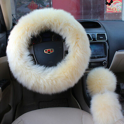 (US Car Auto Long Plush Fuzzy Steering Wheel Cover Beige Wool Handbrake Cover Set)