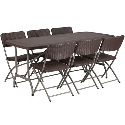 67.5 Rectangular Brown Rattan Plastic Folding Table Set With 6 Folding Chairs