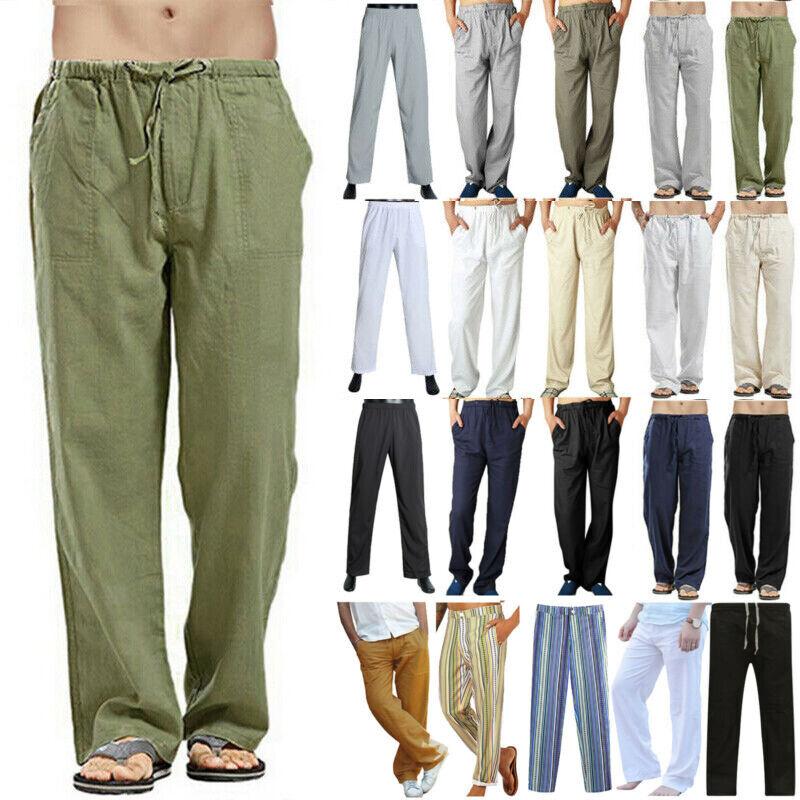 Mens Linen Baggy Casual Long Pants Straight Beach Yoga Plain