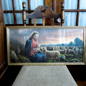 Art Picture Vintage Giovanni Jesus Lamb The Good Shepherd Framed Kitchener / Waterloo Kitchener Area image 1