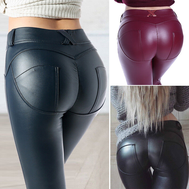 Women Sexy PU Leather Yoga Pants Hip Push Up Workout Stretch Leggings Trousers 14