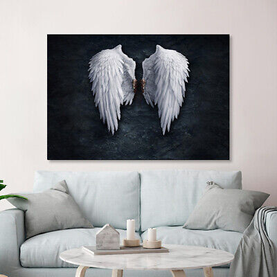 White Angel Wings Wall Art Canvas Poster Abstract Print Modern Room Decoration