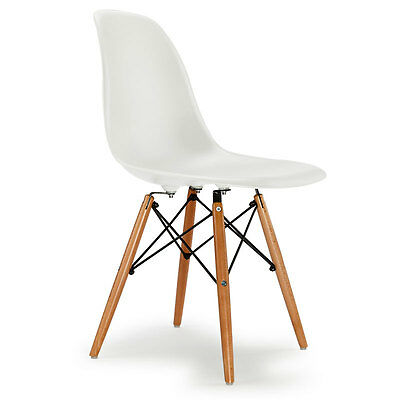 4x Replica Eames DSW Dining Chairs -White Eiffel Designer Kitchen Matte Four Set