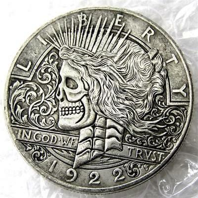 Hobo 1922/1922 Two Faces Peace Dollar Crowned Skull Zombie Skeleton Coin