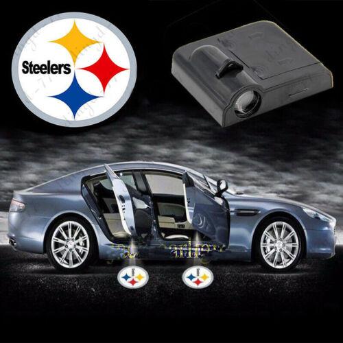 2x Wireless Car Door Lights Pittsburgh Steelers Logo Shadow Laser Projector Lamp