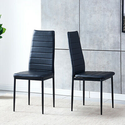 Black Set of 2 PU Leather Dining Chair Living Room Kitchen Breakfast Furniture