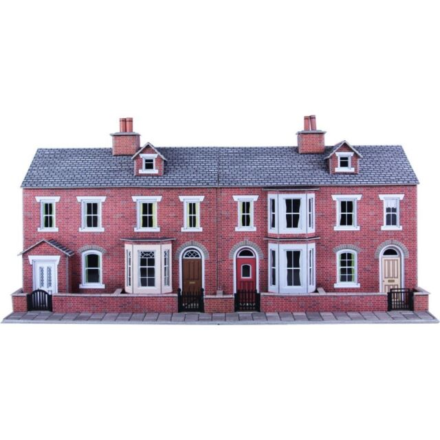 Low relief terraced house fronts brick OO/HO Card kit Metcalfe PO274 - Free Post