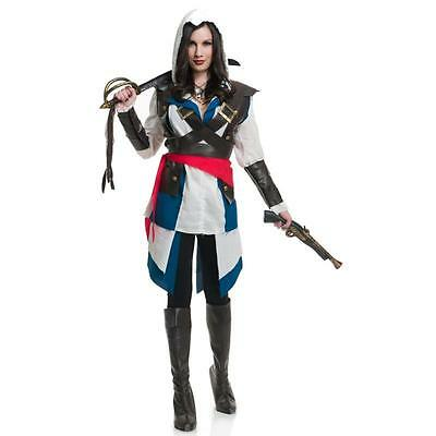 WOMEN LADY VIDEO GAME CUTTHROAT ASSASSIN PIRATE HALLOWEEN COSTUME M MEDIUM 8-10 - Woman Assassin Halloween Costume