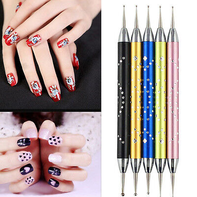 5Pcs 2-Ways Acrylic UV GEL Nail Art Dotting Brush Pen acrylic Nail brush Pen ts