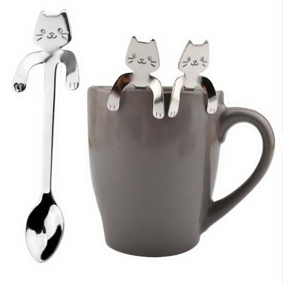Stainless Steel Cute Cat Coffee Drink Spoon Tableware Kitchen Supplies Hanging