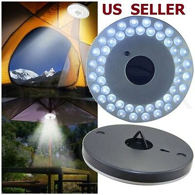 48 LED Outdoor Umbrella Night White Lamp Pole Light Patio Yard Garden Lawn