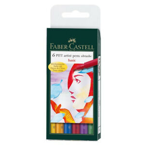 "Faber Castell Pitt Artist Pens ""brush"" [ 6 pens in pack ] New"