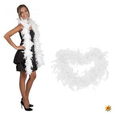 Federboa weiß 1,80m lang Kostüm Zubehör Fasching Karneval Filmstar Boa 1920er ()