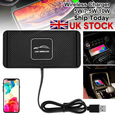 Car QI Wireless Phone Charger Non Slip Pad Mat Fast Charging Fits iPhone/Samsung